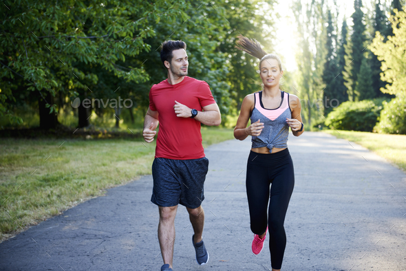 Running with partner make it is more pleasure - Stock Photo - Images