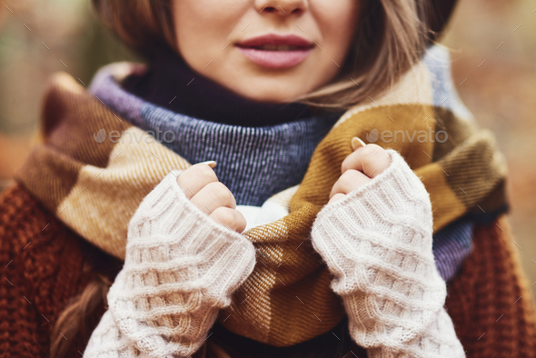 Gorgeous young woman wearing winter clothes - Stock Photo - Images