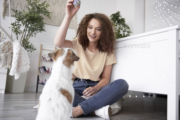 Happy girl having fun with her dog - Stock Photo - Images
