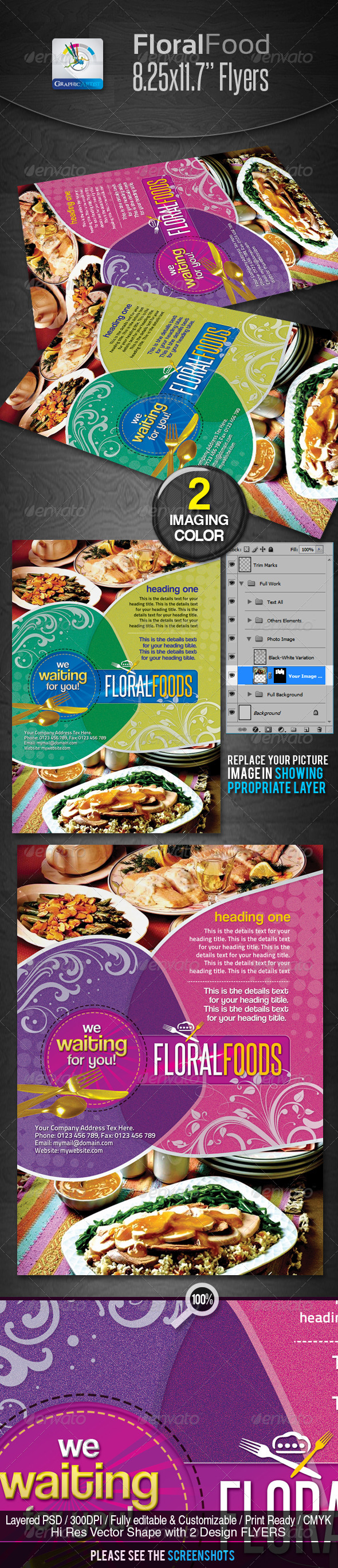 Floral Restaurant Food Flyers - Restaurant Flyers