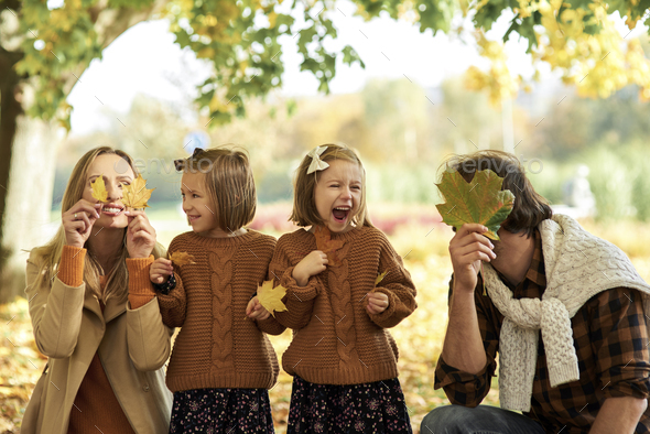 Joyful family having fun with autumnal leaves in woods - Stock Photo - Images