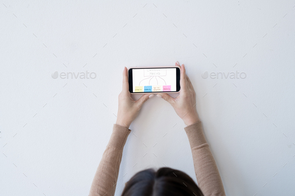 Hands of young businesswoman holding smartphone with decision making flow chart - Stock Photo - Images