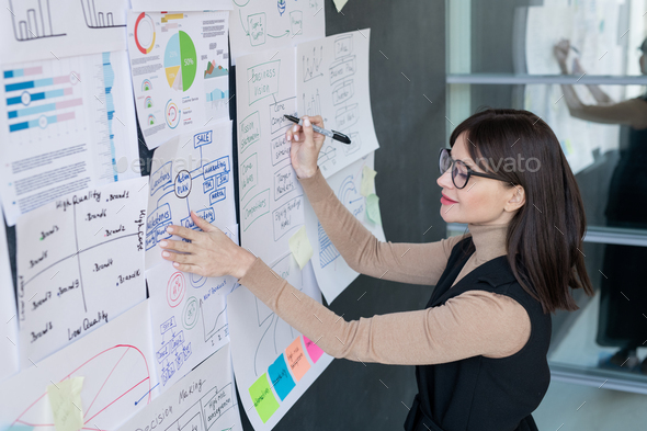 Confident economist analyzing financial information on blackboard in office - Stock Photo - Images