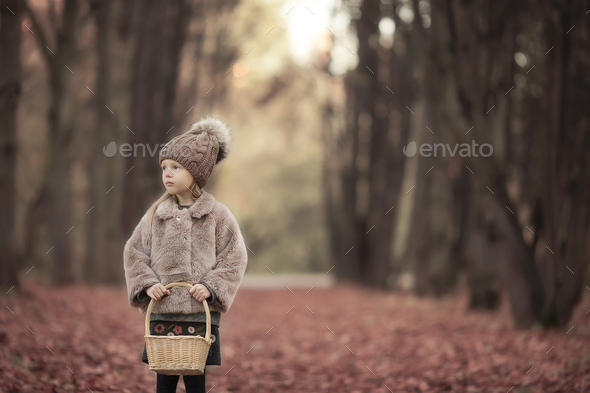 Adorable little girl with a basket outdoors at beautiful autumn park - Stock Photo - Images