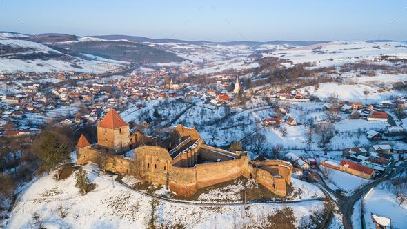 Slimnic fortress. Transylvania, Romania - Stock Photo - Images