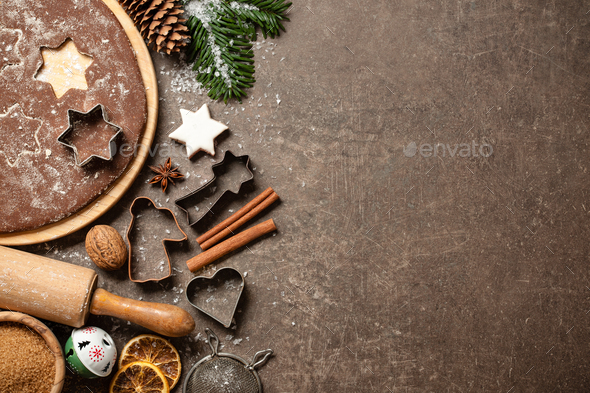 Christmas cookies baking table, top view - Stock Photo - Images