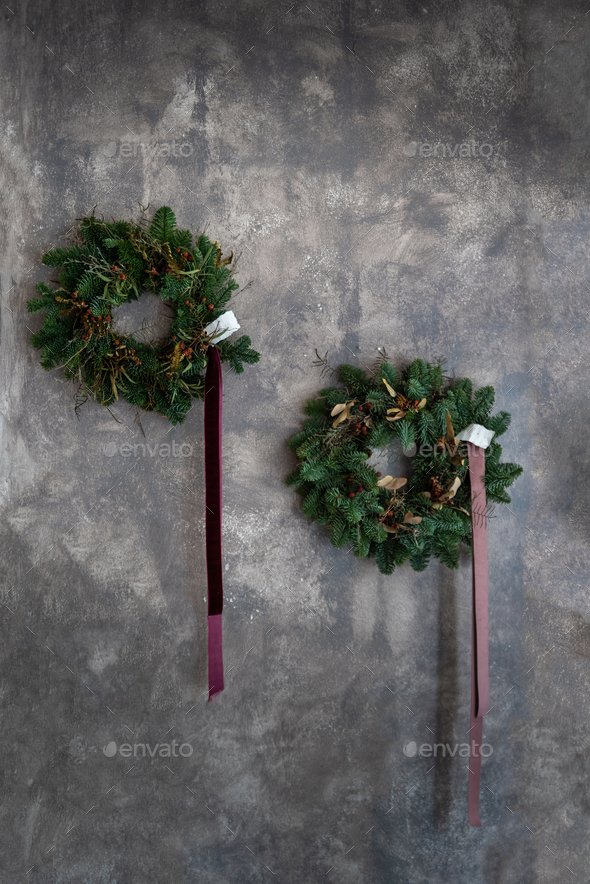 Christmas wreaths on the wall - Stock Photo - Images
