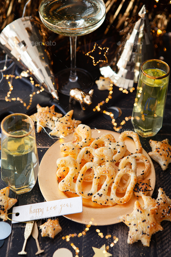 Delicious crackers for New Year's Eve - Stock Photo - Images