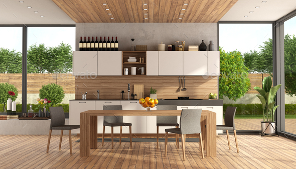 Wooden and white modern kitchen - Stock Photo - Images