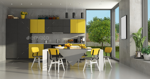 Black and yellow modern kitchen - Stock Photo - Images
