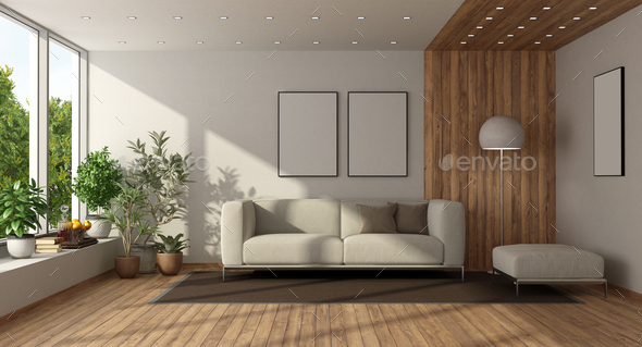 Minimalist Living Room With Large