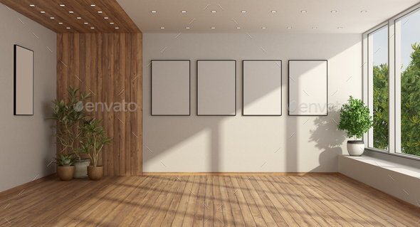 Empty minimalist living room with large window - Stock Photo - Images
