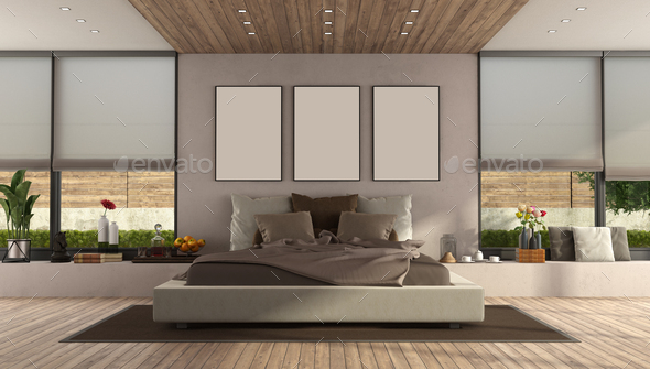 Modern master bedroom with large double bed
