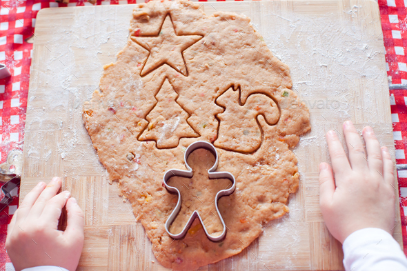 Raw dough for gingerbread cookies for Christmas at home kitchen - Stock Photo - Images