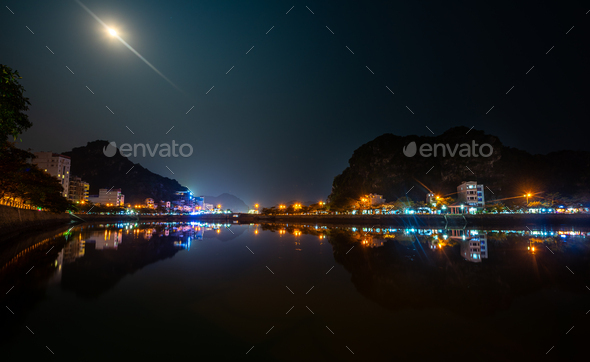 Cat Ba Vietnam at night - Stock Photo - Images