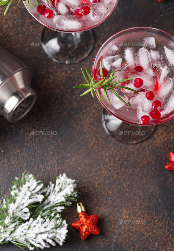 Cranberry margarita cocktail. Christmas drink - Stock Photo - Images