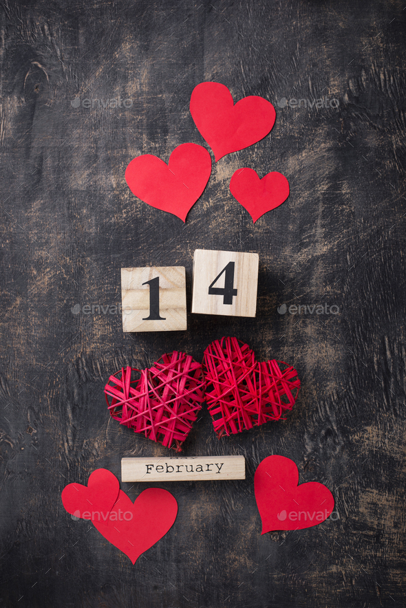 Valentines Day background with red hearts - Stock Photo - Images