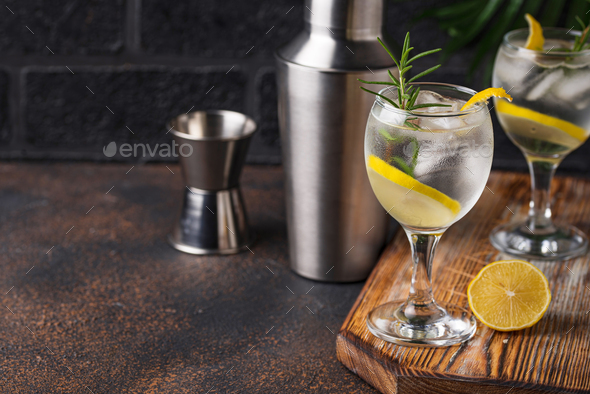 Gin tonic cocktail with lemon - Stock Photo - Images
