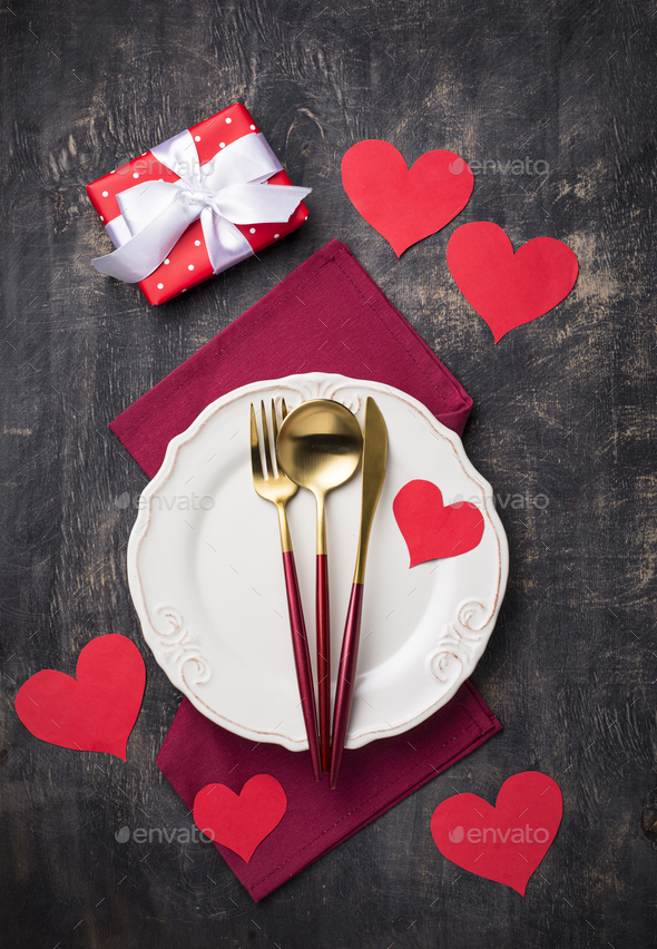 Valentines Day table setting with hearts - Stock Photo - Images