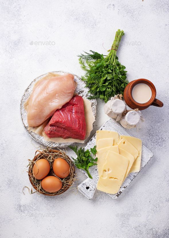 Set of farm products. Meat, eggs and milk - Stock Photo - Images