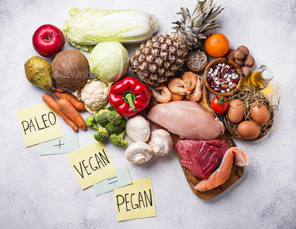 Pegan diet. Paleo and vegan products - Stock Photo - Images