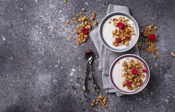 Granola with yogurt and dried raspberries - Stock Photo - Images