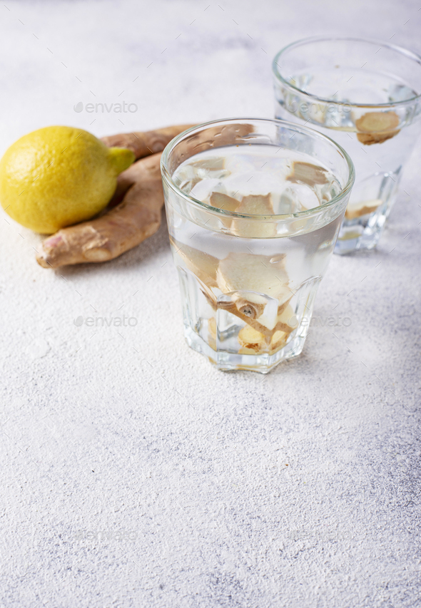 Water with ginger, detox healthy drink - Stock Photo - Images