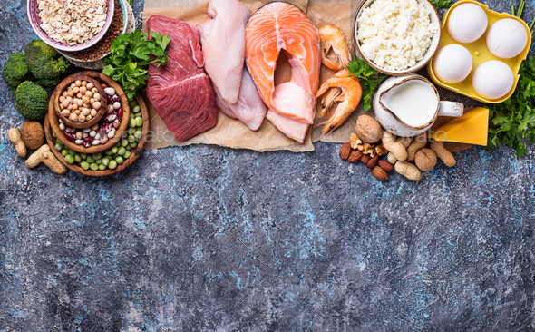 Healthy food high in protein - Stock Photo - Images