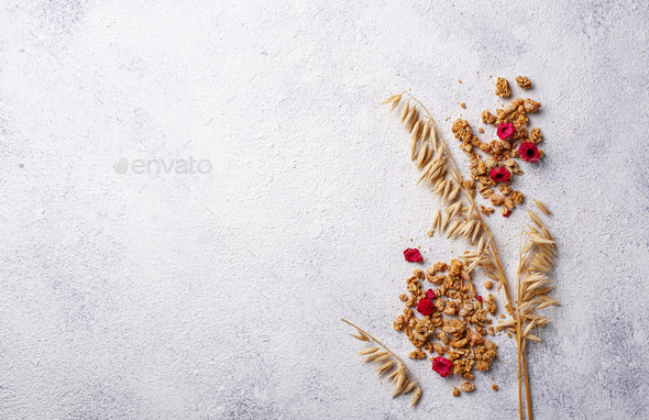 Homemade granola with dried berry - Stock Photo - Images