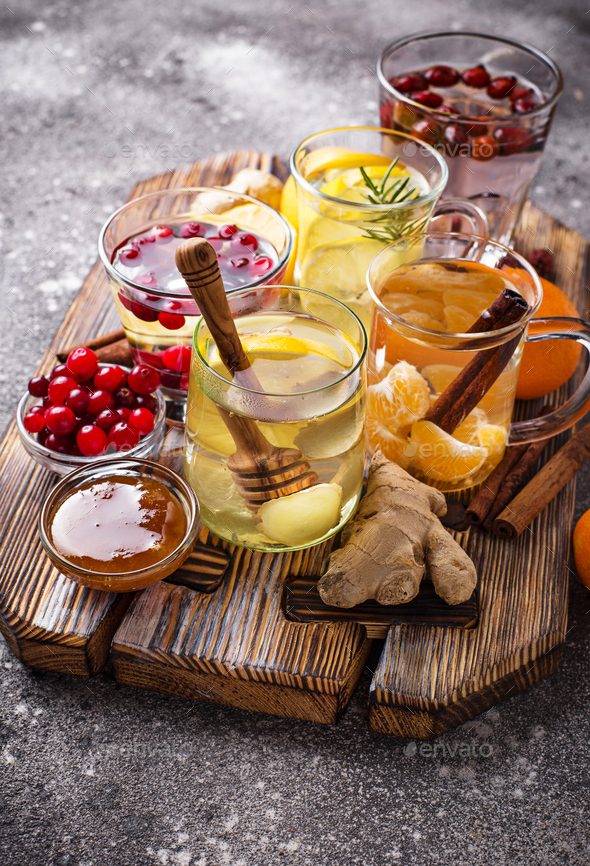 Assortment of winter healthy tea for immunity boosting - Stock Photo - Images