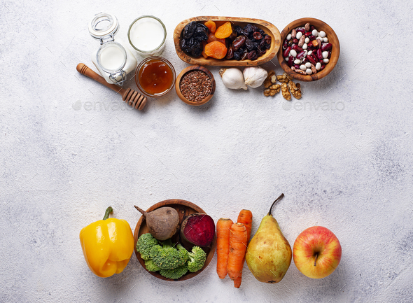 Products for healthy bowel.  Food for gut - Stock Photo - Images
