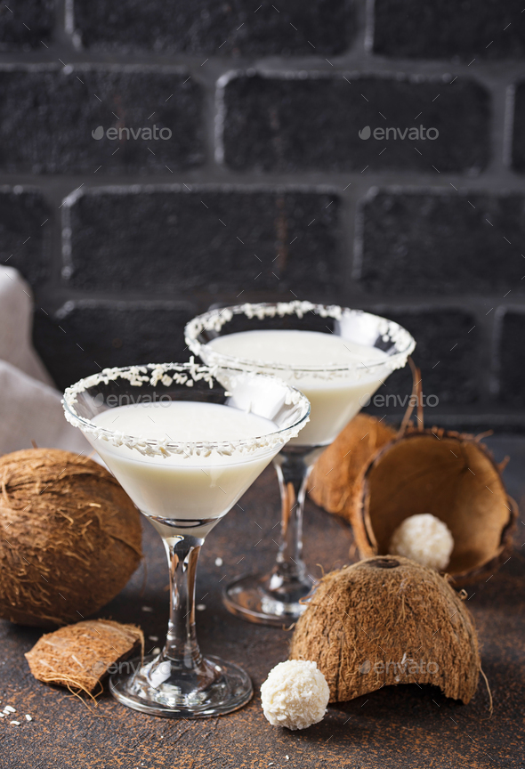Coconut martini or Margarita. Alcoholic cocktail - Stock Photo - Images