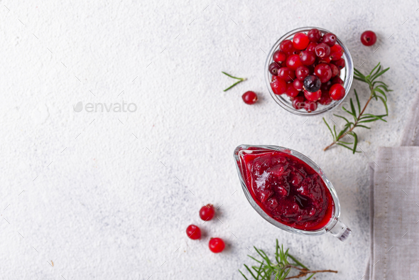 Cranberry sauce with rosemary and fresh berry - Stock Photo - Images