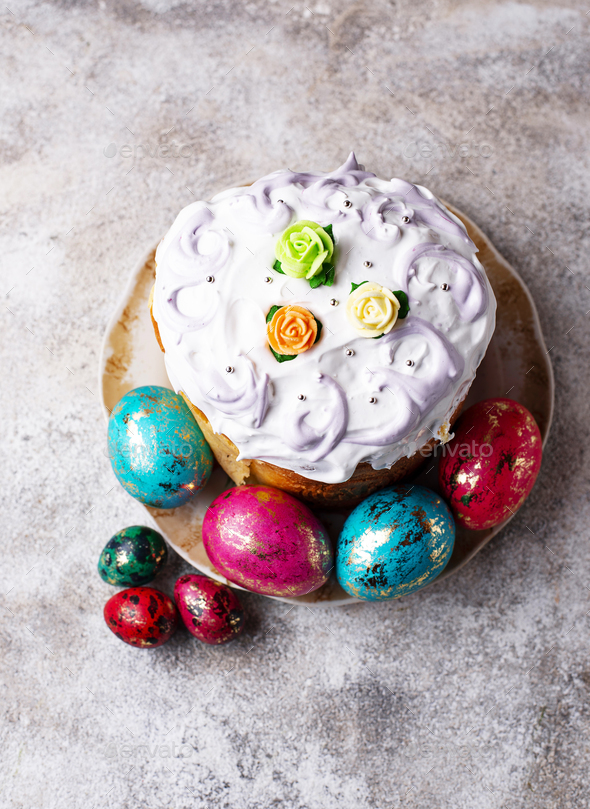 Traditional Easter cake with painted eggs - Stock Photo - Images