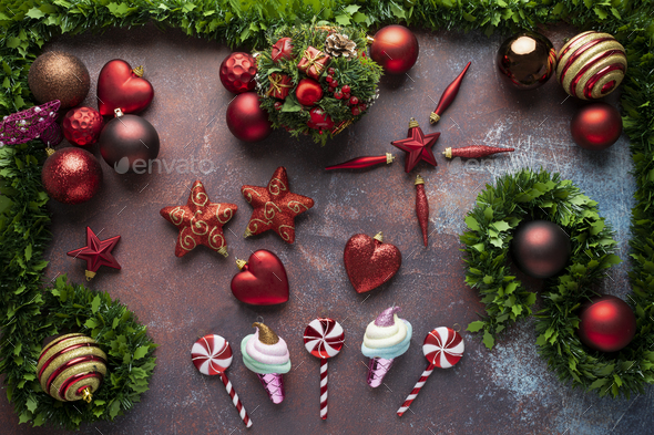 Christmas background with baubles, stars, lollipops and fir tree - Stock Photo - Images