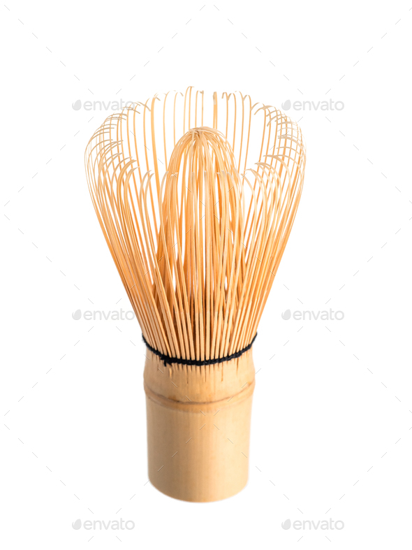 Bamboo Matcha Tea Whisk or chasen isolated white - Stock Photo - Images