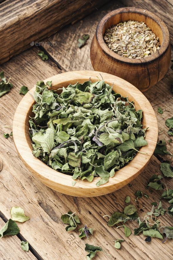 Dried marjoram seasoning - Stock Photo - Images