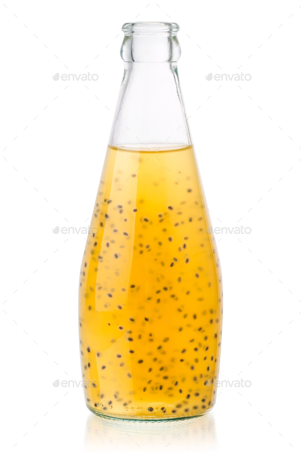Tropical basil seed drink bottle, paths - Stock Photo - Images