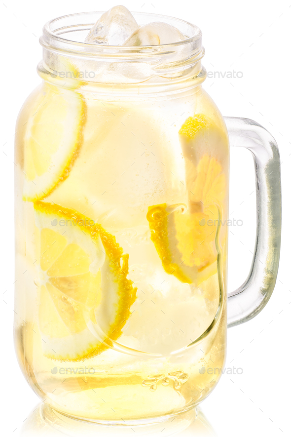 Iced lemonade in mason jar, paths - Stock Photo - Images