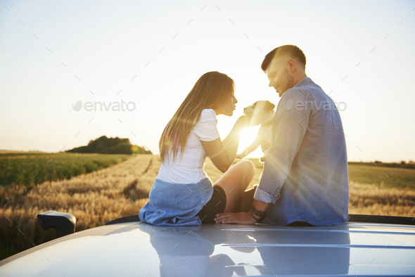 Young couple playing with dog outdoors - Stock Photo - Images