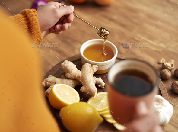 Warming tea with honey,  lemon  and ginger - Stock Photo - Images