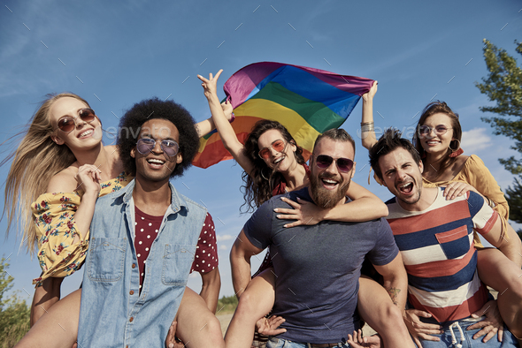 Three playful couples having great fun - Stock Photo - Images