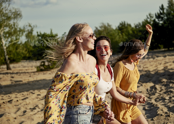 Picture of running women on the beach - Stock Photo - Images