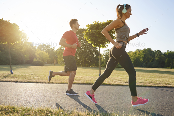 Jogging with partner is more pleasure - Stock Photo - Images