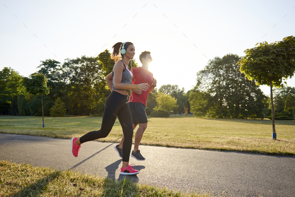 Running with partner is more pleasure - Stock Photo - Images