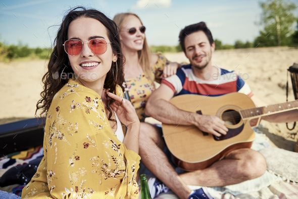 Beautiful woman chilling outdoors with best friends - Stock Photo - Images