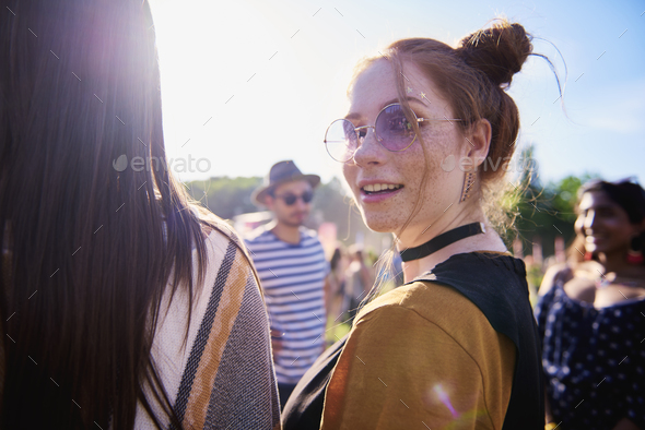Portrait of boho girl at the festival - Stock Photo - Images
