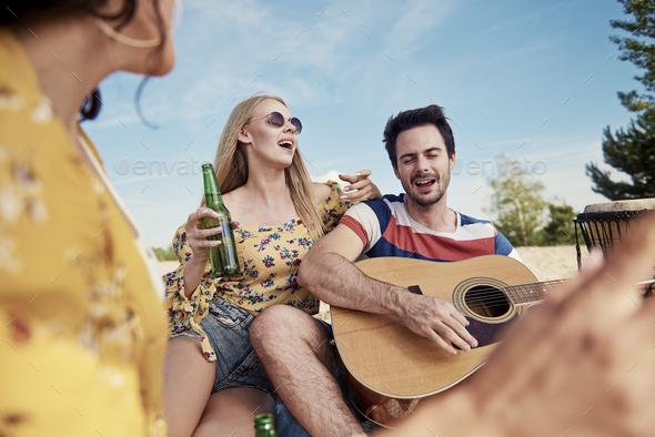 Enjoying the music with boyfriend - Stock Photo - Images