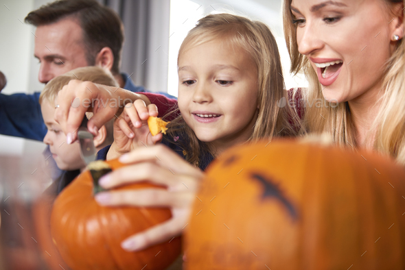 Happy family preparing to Halloween - Stock Photo - Images