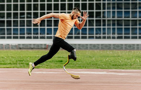physically disabled athlete running - Stock Photo - Images